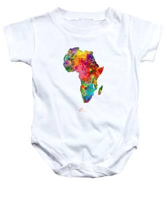 Africa Watercolor Map Baby Onesie