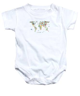 Animal Map Of The World For Children And Kids Baby Onesie