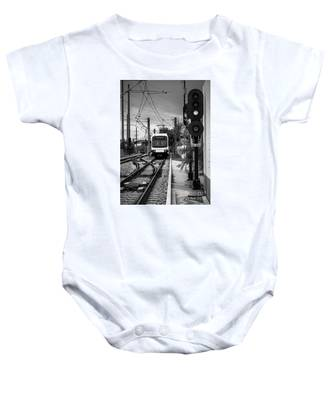 Electric Commuter Train In Bw Baby Onesie