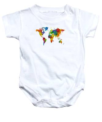 Map Of The World Map Watercolor Baby Onesie