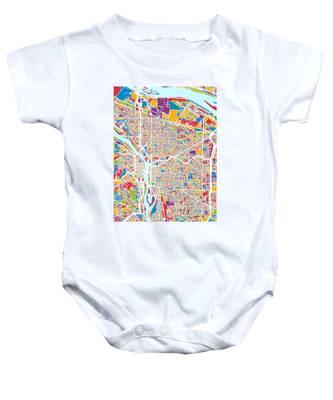 Portland Oregon City Map Baby Onesie