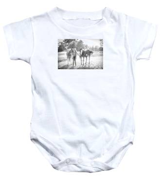 A Girl With Horses Baby Onesie