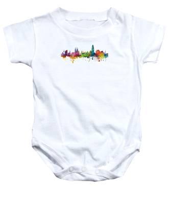 Barcelona Spain Skyline Panoramic Baby Onesie