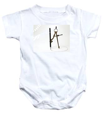 Brass Compass And Pencil Baby Onesie
