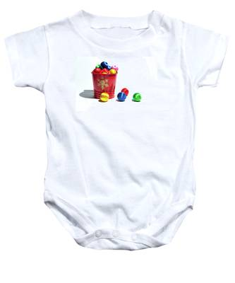 Coloured Baubles In A Pot Baby Onesie
