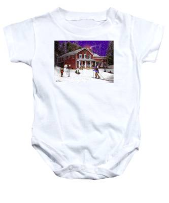 First Snow At The South Woodstock Country Store Baby Onesie