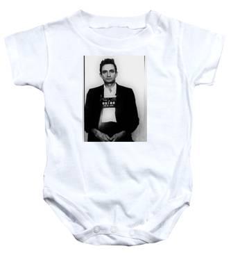 Johnny Cash Mug Shot Vertical Baby Onesie