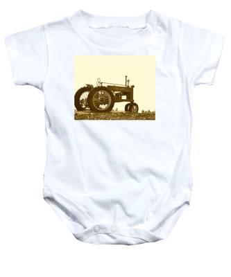 Old Tractor IIi In Sepia Baby Onesie