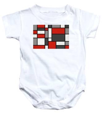 Red Grey Black Mondrian Inspired Baby Onesie