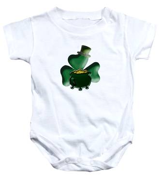 Shamrock And Pot Of Gold Baby Onesie