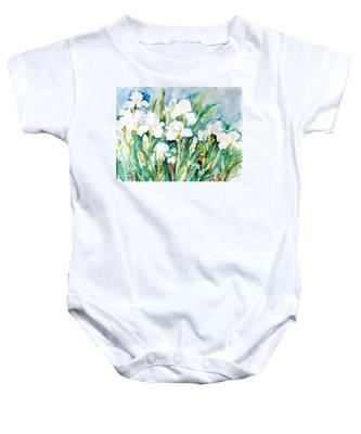 White Irises Baby Onesie
