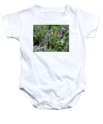 Baby Onesie featuring the photograph Lavender And A Bee by Dart Humeston