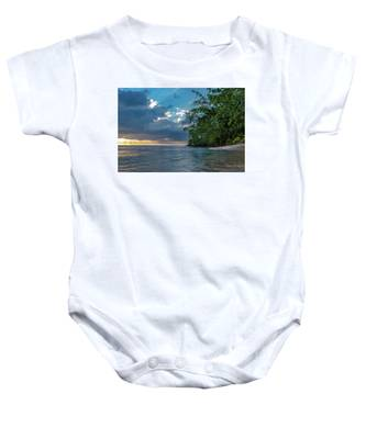 Negril Beach Sunburst At Sunset Baby Onesie