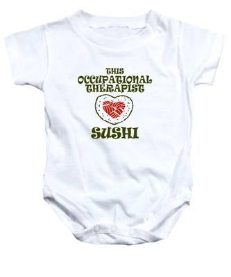 Sushi Japanese Cuisine Fish Clip Art Vector Sushi Illustration Baby Boys Girls Long Sleeve Baby Onesie Funny Onesies