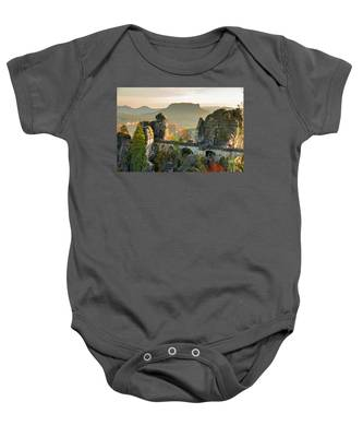 Autumn Afternoon On The Bastei Bridge Baby Onesie