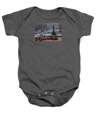 Central Park Snow Storm Baby Onesie
