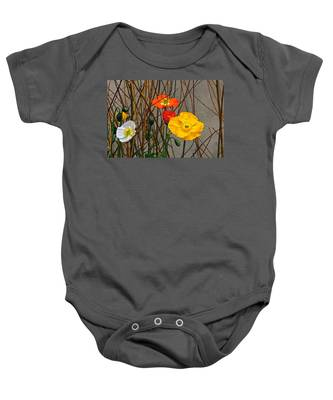 Colorful Poppies And White Willow Stems Baby Onesie