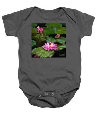 Hot Pink And Green Tropical Waterlilies Baby Onesie