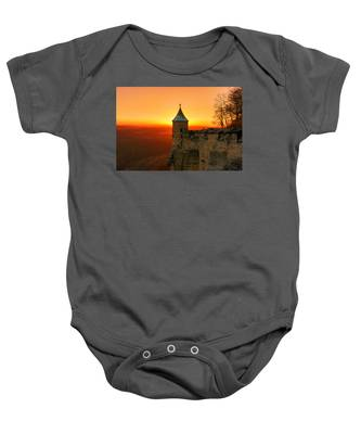 Low Sun On The Fortress Koenigstein Baby Onesie