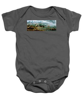 Panorama With The Abduction Of Helen Amidst The Wonders Of The Ancient World Baby Onesie