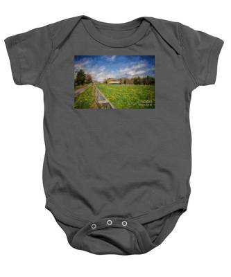 Stone Barn On A Spring Morning Baby Onesie
