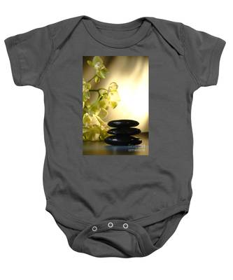 Stone Cairn And Orchids Baby Onesie
