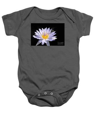 Summer Magic -- Dragonfly On Waterlily On Black Baby Onesie