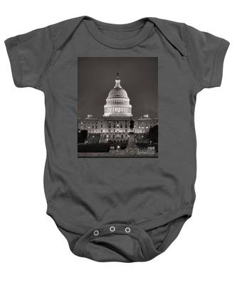 United States Capitol At Night Baby Onesie