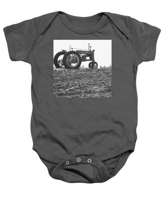 Old Tractor II In Black-and-white Baby Onesie