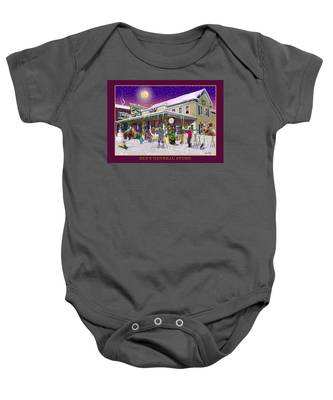 Winter At Zebs General Store In North Conway Nh Baby Onesie
