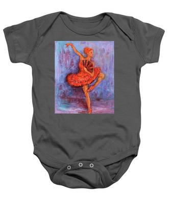 Ballerina Dancing With A Fan Baby Onesie