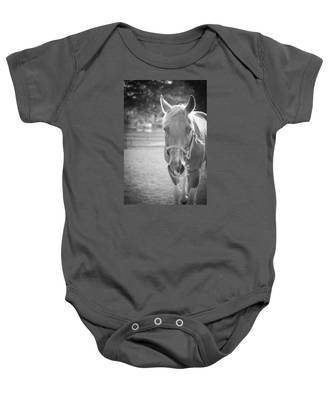 Black And White Portrait Of A Horse In The Sun Baby Onesie