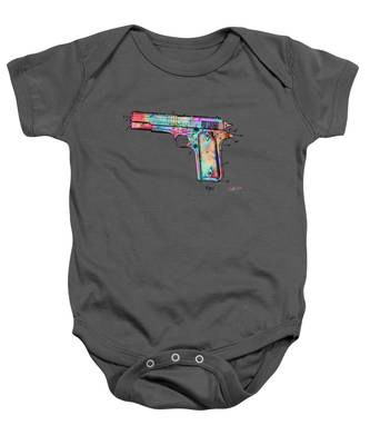 Colorful 1911 Colt 45 Browning Firearm Patent Minimal Baby Onesie