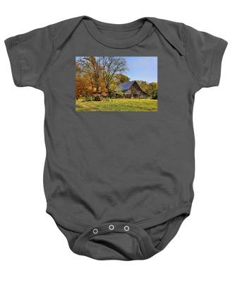 Country Barn And A Pink Flamingo By H H Photography Of Florida Baby Onesie