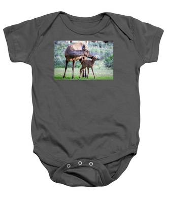 Cow And Calf Elk Baby Onesie