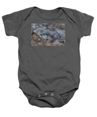 Delaware River Ice With Leaves Baby Onesie