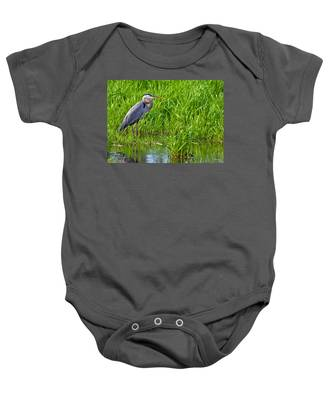 Great Blue Heron Waiting Baby Onesie