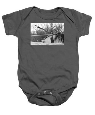 Icicle Laden Branch Over The Waterfall Baby Onesie