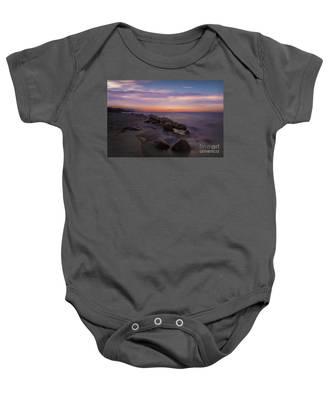 Montauk Sunset Boulders Baby Onesie