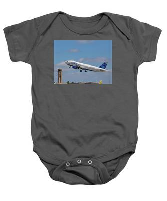 Baby Onesie featuring the photograph N625jb Jetblue At Fll by Dart and Suze Humeston