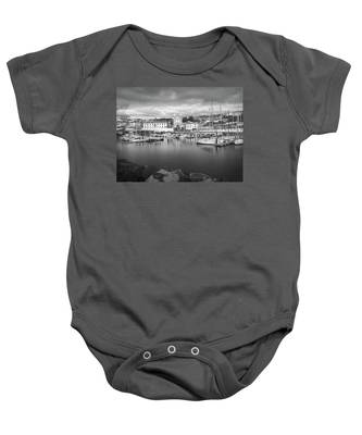 Port Of Angra Do Heroismo, Terceira Island, The Azores In Black And White Baby Onesie
