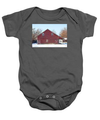 Baby Onesie featuring the photograph Red Barn by Dart Humeston
