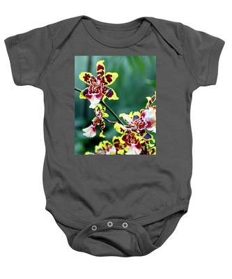 Striped Maroon And Yellow Orchid Baby Onesie