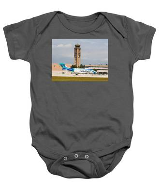 Baby Onesie featuring the photograph Sandals Beaches Jet by Dart and Suze Humeston