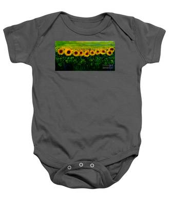 Sunflowers In A Row Baby Onesie
