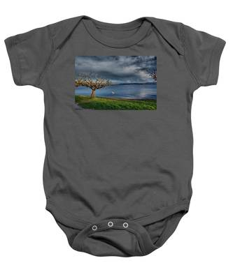 Swan And Tree Baby Onesie