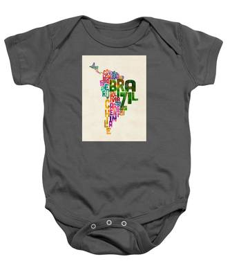 Typography Map Of Central And South America Baby Onesie