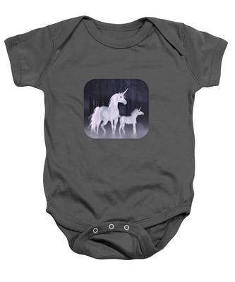 Unicorns In The Mist Baby Onesie