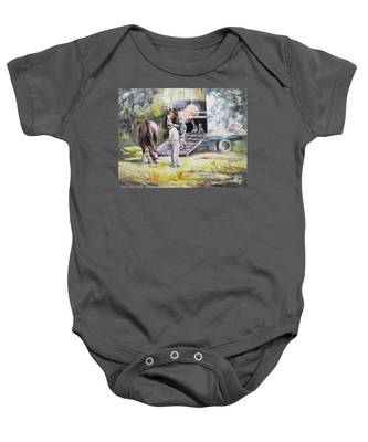 Unloading The Clydesdales Baby Onesie