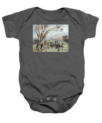 Working Clydesdale Pair, Australian Landscape. Baby Onesie